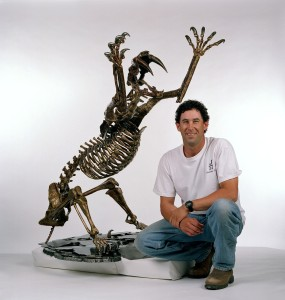 Artist Raymond Marks with his Saber-Tooth Cat